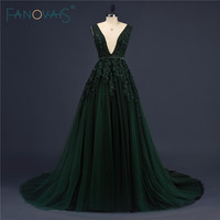 Actual Image Deep Green Sexy Lady Party Wear Luxury Exquisite Floral Beaded Crystal Evening Dress 2016