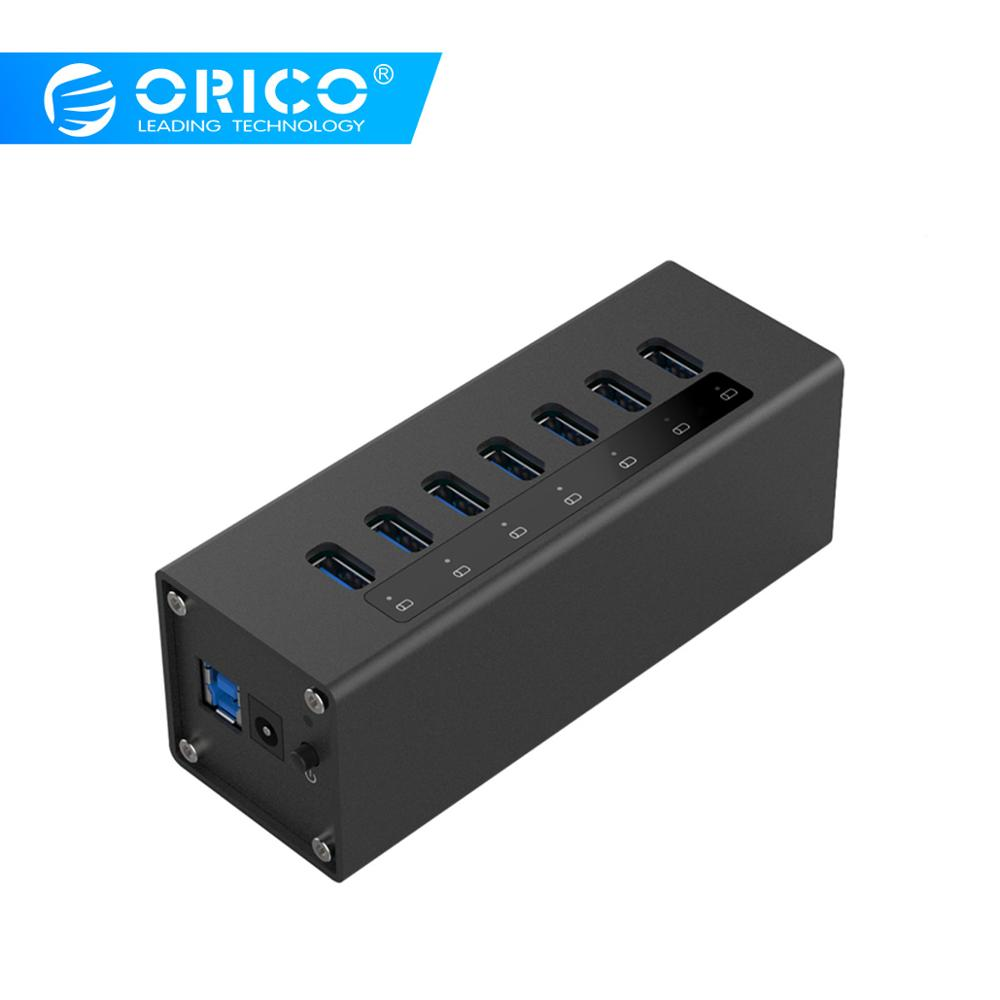 ORICO High Speed Aluminum 7 Port USB 3.0 HUB Usb Hub Splitter With 12V2.5 Power Adapter For Windows Mac OS PC/ Laptop ( A3H7 BK)-in USB Hubs from Computer & Office    1