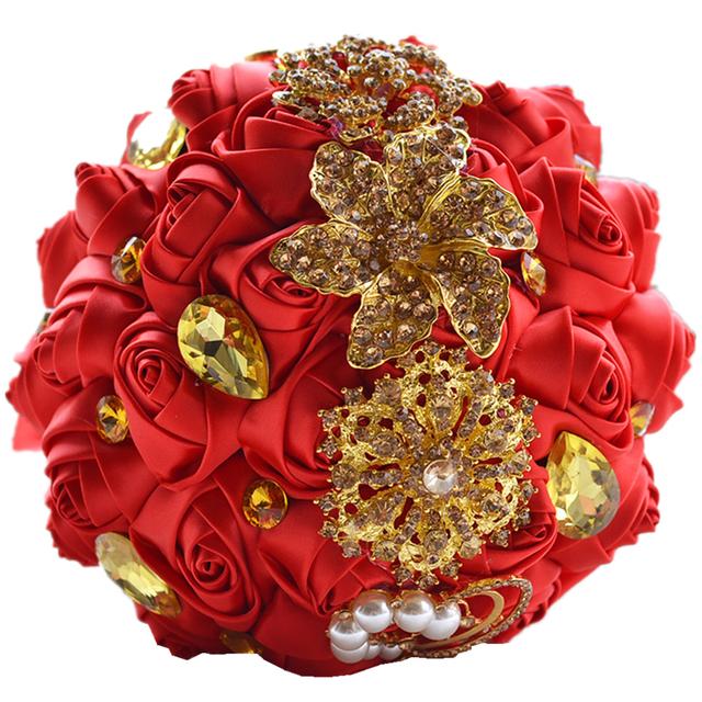 Marfil rubor rosa de lujo satén hecho a mano artificial ramo de rosas ramo de la boda de novia dama de honor ramos de novia de mariage