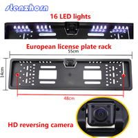 European Car HD 16 LED Night Vision License Plate Frame Rear View Camera Waterproof Parking Rear
