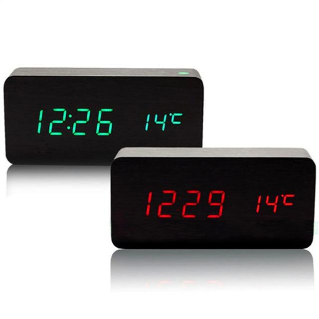 led tavola di legno sveglia temperatura orologio da tavolo digitale con attivazione vocale. Black Bedroom Furniture Sets. Home Design Ideas