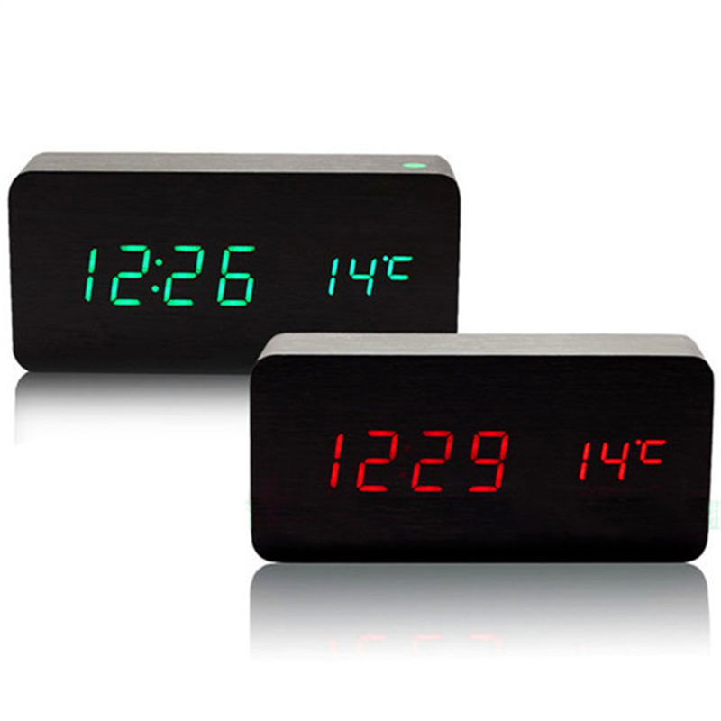 LED en bois Conseil réveil + Température numérique horloge de table avec activé par la voix, Batterie/USB puissance chambre salon chambre horloges
