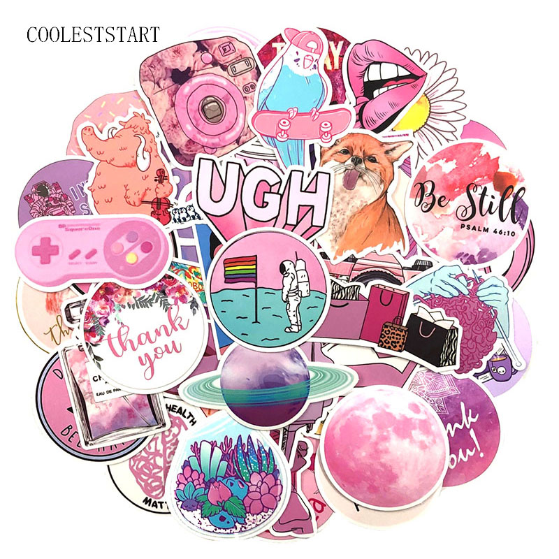 100Pcs/Pack Pink Cute Graffiti Stickers Instagram Style For Luggage Laptop Refrigerator Motorcycle Bicycle Skateboard