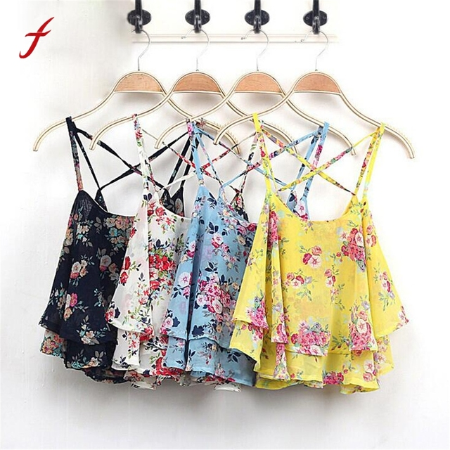 ffb01b329373 Feitong Summer Women Blouse Sexy Spaghetti Strap Tank Tops Floral Print  Chiffon Short Shirt Vest Crop Tops blusas feminina 2019