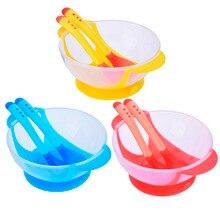3 шт./компл. детская помощь чаша+ Температура зондирования ложка+ вилка младенческой миска для кормления детей комплект Детские Обучающие посуда кормовые