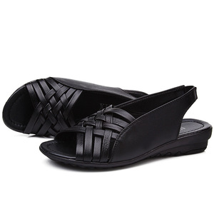 Image 5 - 2020 Summer Women Shoes Woman Genuine Leather Flat Sandals Open Toe Mother Wedges Casual Sandals Women Sandals Black Big Size