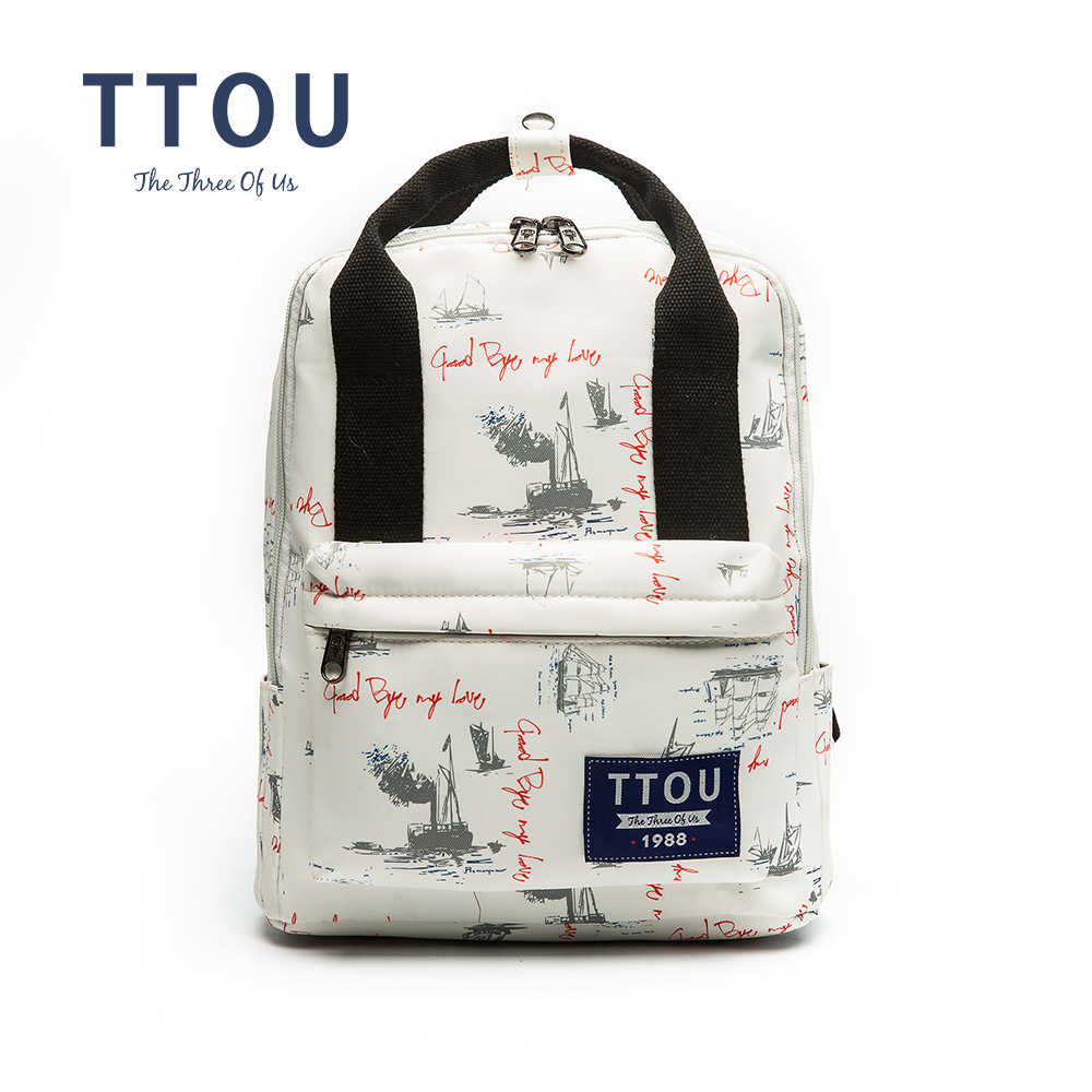 TTOU Design Letter White Printing Backpack Teenage Girls School Bag Women Backpack Travel Bag Large Capacity Can Put in A4