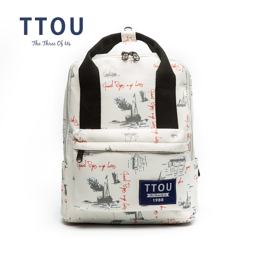 все цены на TTOU Design Letter White Printing Backpack Teenage Girls School Bag Women Backpack Travel Bag Large Capacity Can Put in A4