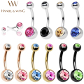 Hansel & Wang 10pcs Navel Piercing Surgical Stainless Steel Belly Button Rings Body Jewelry Piercing Ombligo Nombril STL29