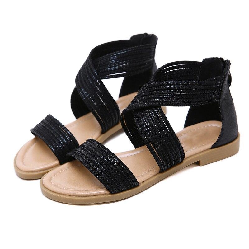 Negro 2019 Moda Verano Talla Grande Zapatos Sandalias Mujer De Plano 76bfgy
