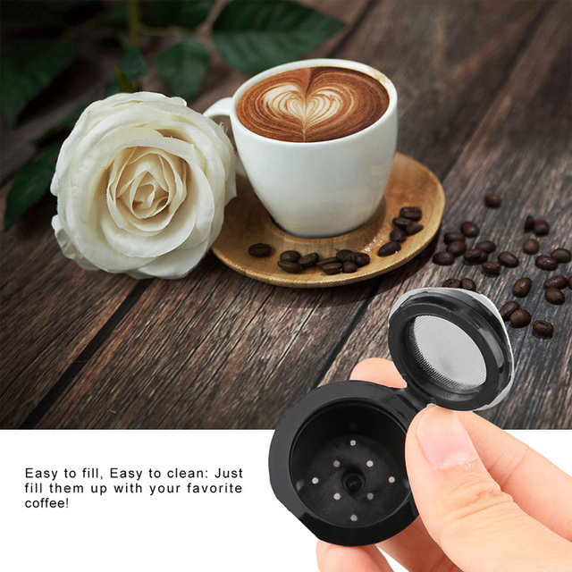 LemonBest 2pcs Silver Refillable Reusable Coffee Capsule Filter Compatible with Nespresso (with Coffee Spoon)