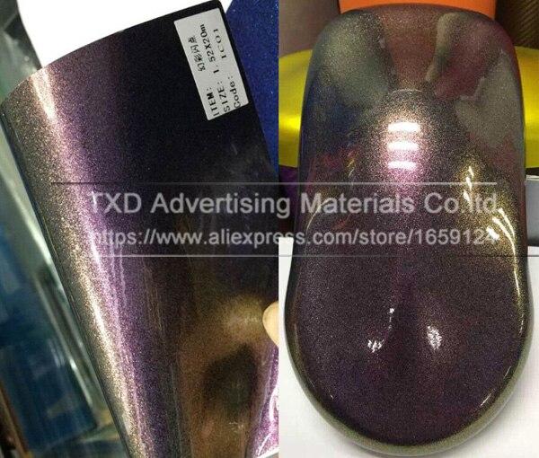 Премиум качества 3 слоя глянцевый Хамелеон Алмазный Блеск для винилового Обёрточная бумага пленка без воздушных пузырьков Размеры: 10/20 Вт, 30 Вт/40/50/60x152 см - Название цвета: Gold