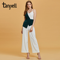 Tanpell sheath jumpsuits evening dress green sleeveless ankle length gown new women homecoming party formal long evening dresses