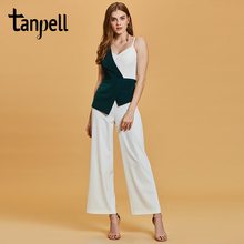 Tanpell sheath jumpsuits evening dress green sleeveless ankle length gown new women homecoming party formal long dresses