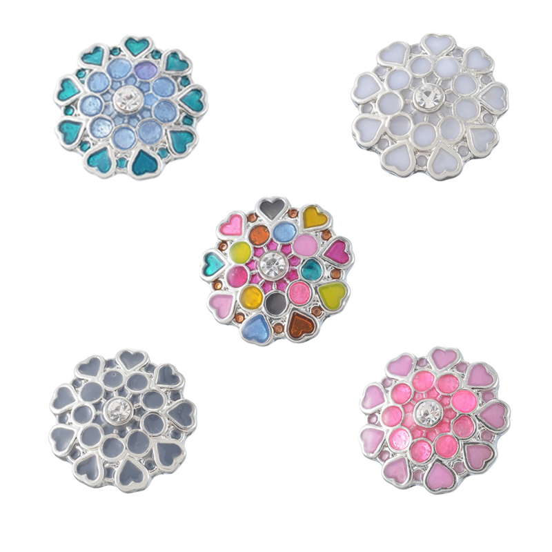 Colorful Love Heart 18mm Snaps Button Crafts Components Jewelry for DIY Bracelet Necklace Charms Snaps Accessories 5pcs