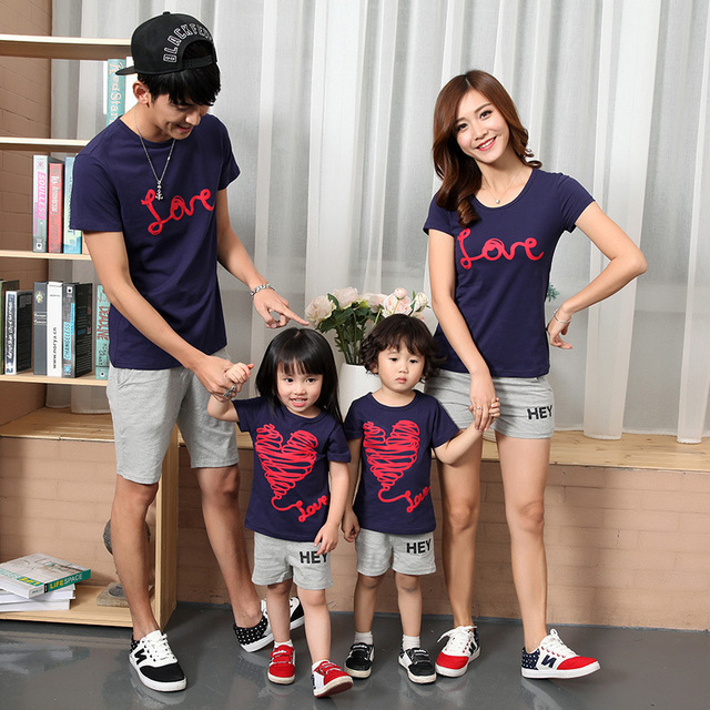 ef3c60855984 summer family set matching mother daughter clothes mom and me pantskirt father  son kids boys T shirts shorts love couple tee