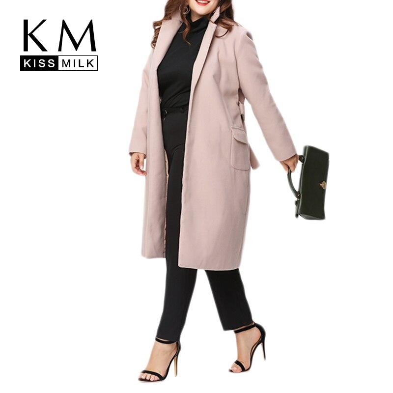 Kissmilk/большие размеры, женское базовое плотное пальто с открытой строчкой, на шнуровке, с длинным рукавом, верхняя одежда, повседневная женск...