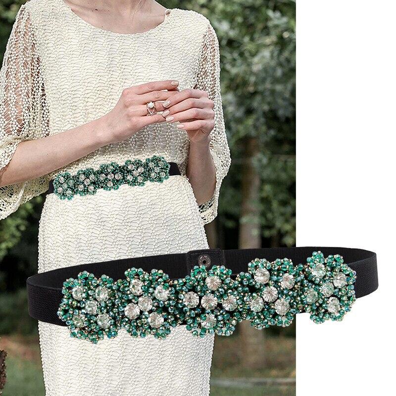 New Cummerbunds Belt Women's Girdle Female  Edition Decorative Drill Mosaic Fashion Waist Seal  Belt Green Belt Etc.