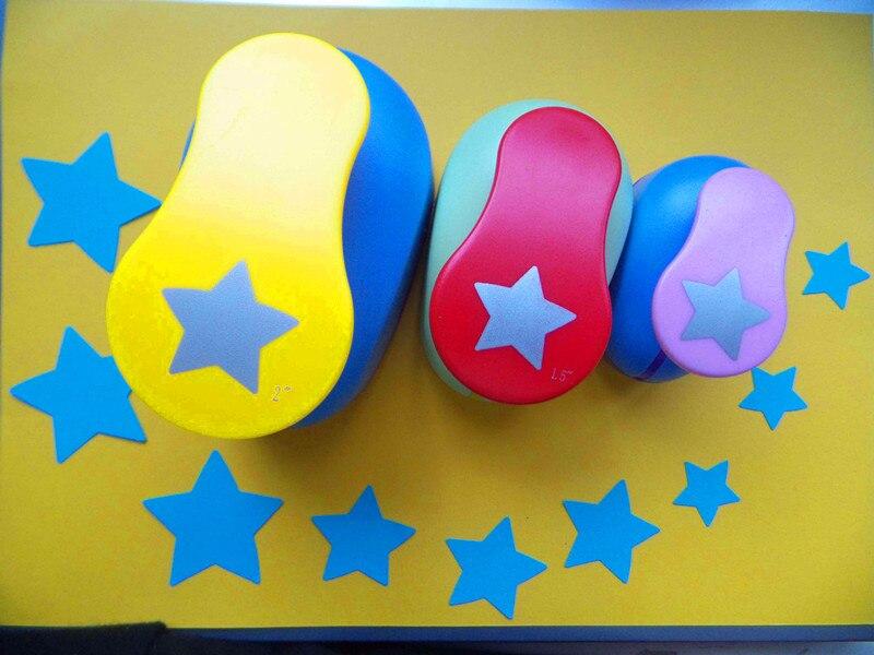 3 pièces (5.0 cm, 3.8 cm, 2.5 cm) En Forme D'étoile Poinçons Perforadora Cortador De Papel De Scrapbooking Coupe-Papier Eva Trou Perforateur
