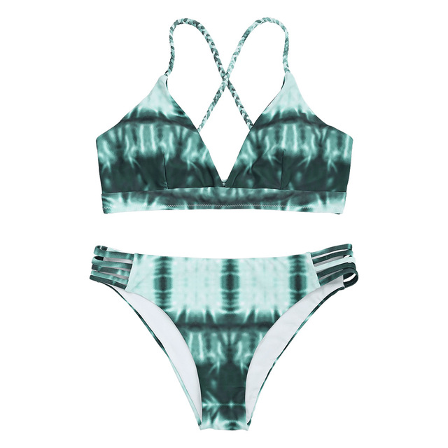72f46a556d ZAFUL 2019 New Women Sexy Bikini Tie Dye Braided Lace-up Thong Bikini Set  Spaghetti Straps Neckline Bra Briefs Natural Waist