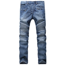 Fashion Hi Street Mens Biker Jeans Pants Slim Fit Straight Motocycle Denim Joggers For Man Pleated
