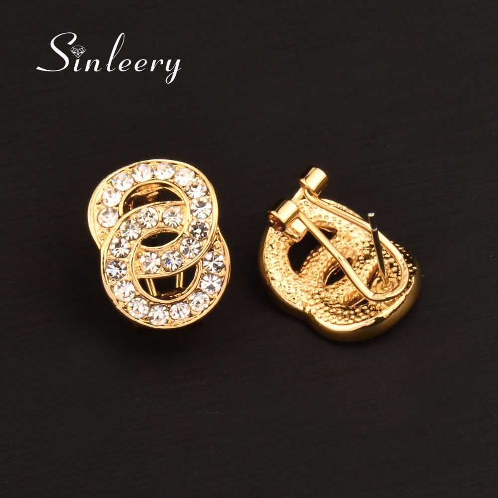 SINLEERY Brilliant Gold/ Silver Color Double Circle Round Stud Earrings for Women Rhinestone Fashion Jewelry 2018 ES764 SSE