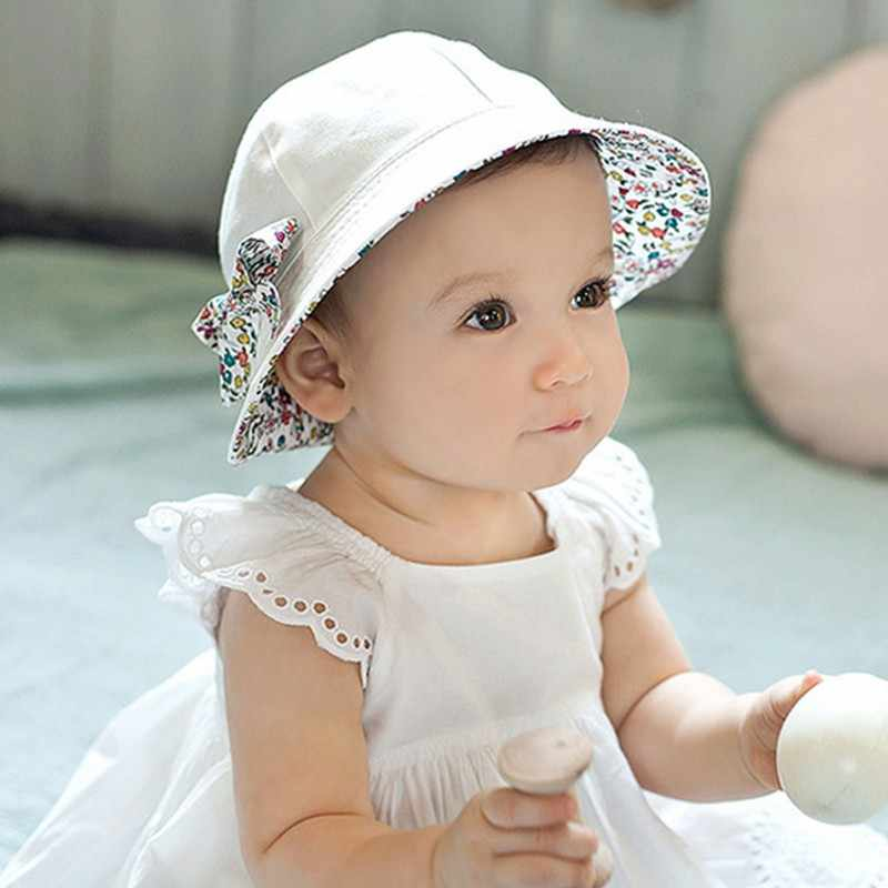 f949734cc1a ... Spring Summer Flower Baby Hat Kids Children Girls Cap Cotton Floral  Bowknot Baby Girl Sun Hat ...