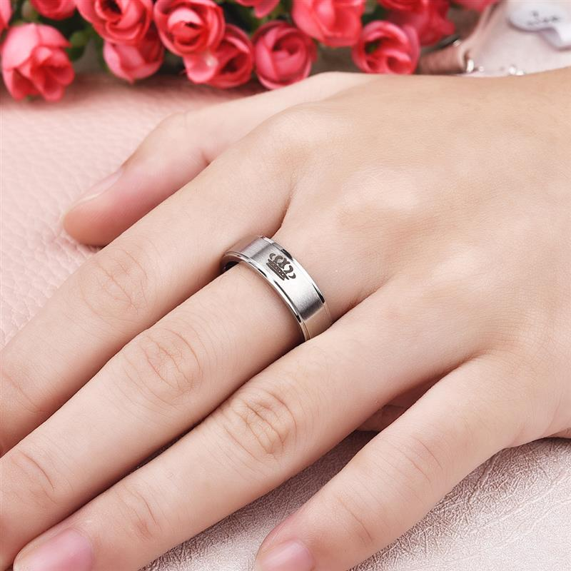 Jiayiqi Fashion His Queen Her King Couple Ring Crown Stainless Steel Wedding Ring for Women Men Jewelry Black Silver Color Ring 4