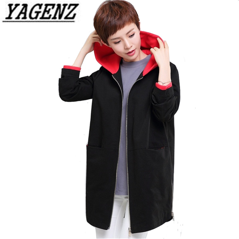 Spring Middle aged Woman Hooded Windbreaker Coats 2018 New Korea Loose Patchwork Medium long Casual Large