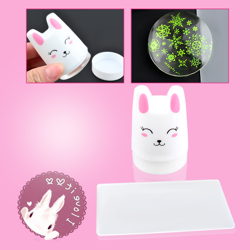 1Set Lovely Rabbit Nail Art Stamper Scraper Soft Silicone Nail Stamp Plates Stamping Manicure Tools in Nail Art Templates from Beauty Health