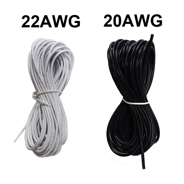 2Pin 18AWG 20AWG 22AWG 5M 10M 20M White Black Red Black Electric ...