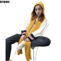 ZFQHJJ 2017 New Design Women S Hooded Scarf Winter Wool Knitted Earflap Hat Snood Wraps Solid