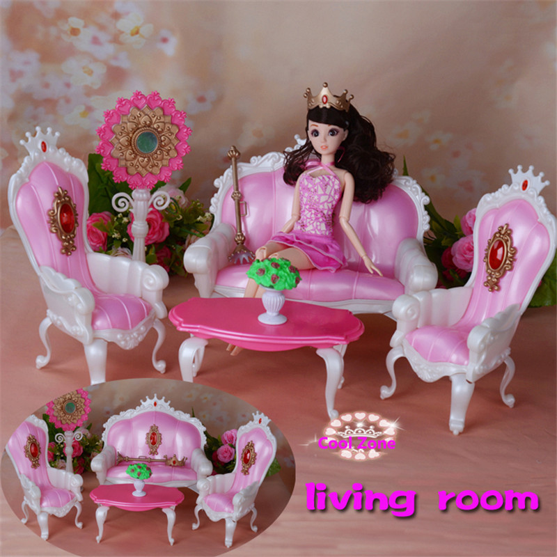Miniatuur meubels prinses woonkamer voor barbie poppenhuis speelgoed voor meisje gratis verzending