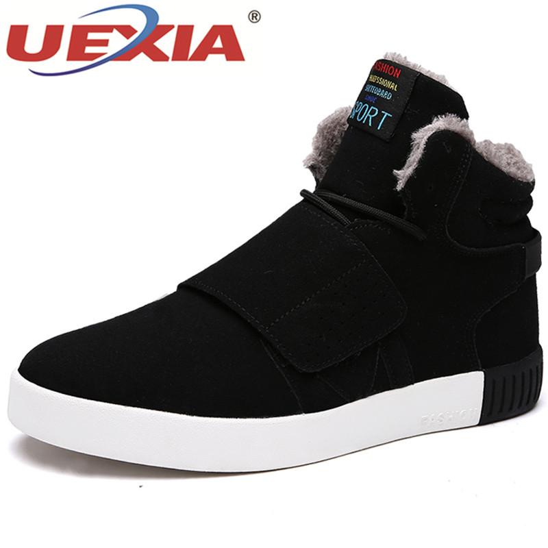 UEXIA Brand Autumn Winter Warm Plush Fur Snow Boots Men Shoes Comfortable Working Shoes High Top Suede Leather Sneakers Footwear 2018 winter fur warm male high top shoes adult flock sneakers men designer shoes casual flat plush walking brand footwear