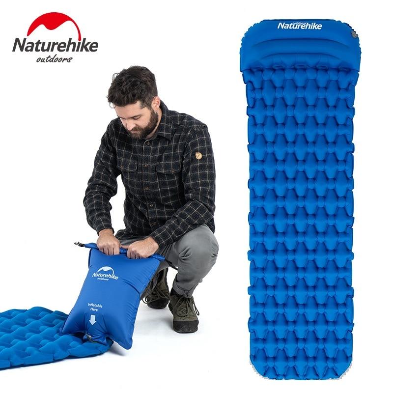 Naturehike Sleeping Pad With Pillow Air Bag New Hand Press Inflating Camping Mattress Ultralight Outdoor Hiking