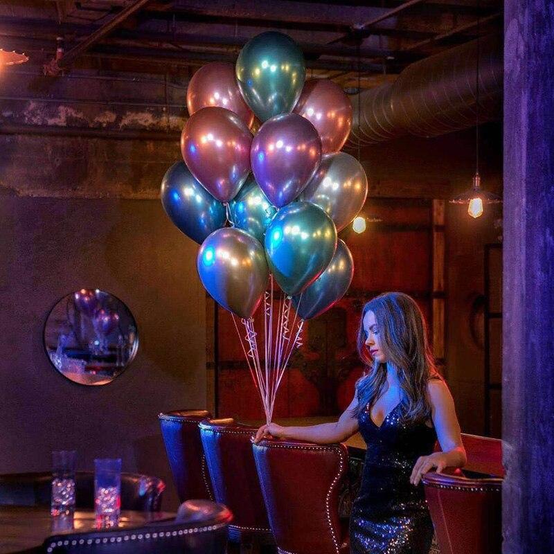 10 шт 5/10/12 дюймов глянцевые металлические жемчужные латексные шары толстые Хромированные Металлические цвета гелиевый воздух шары Globos декор для дня рождения-3