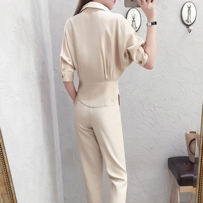 Fashion professional suit female summer New high quality casual temperament V-neck shirt + pants OL two-piece suit women 4