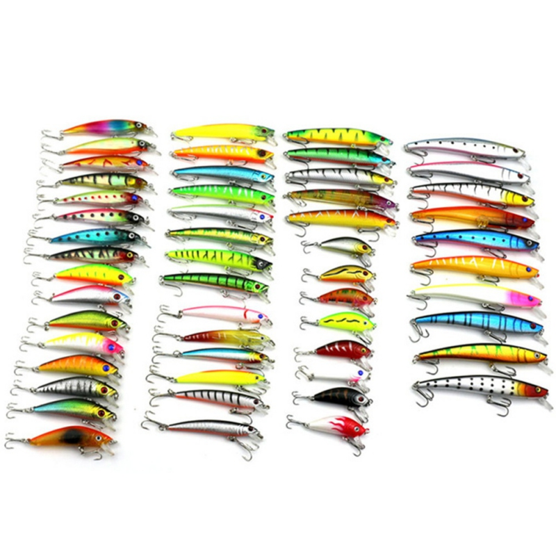53pcs/lot fishing lure Mixed 7 models fishing tackle Minnow lure Crankbait Popper isca aitificial fishing wobbler 3pcs lot fishing lures mixed set minnow crankbaits topwater popper hook lure spinner baits crankbait bass wobbler tackle hook