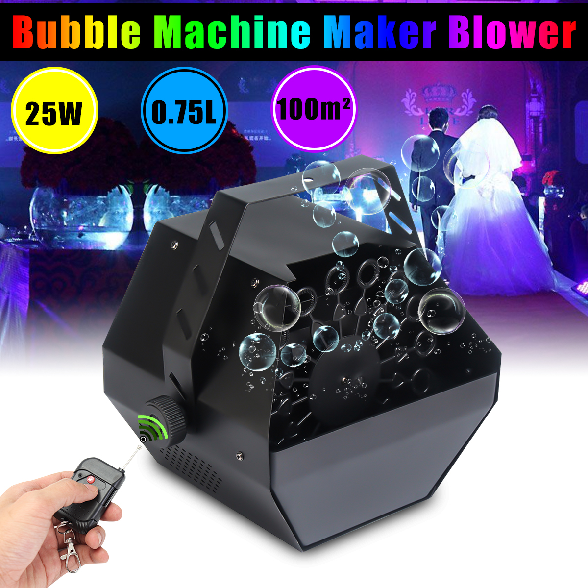цена на 220-240V Automatic Bubble Machine Maker Blower Electric Bubble Making Equipment Mini Wireless Remote Control Stage Party Effect