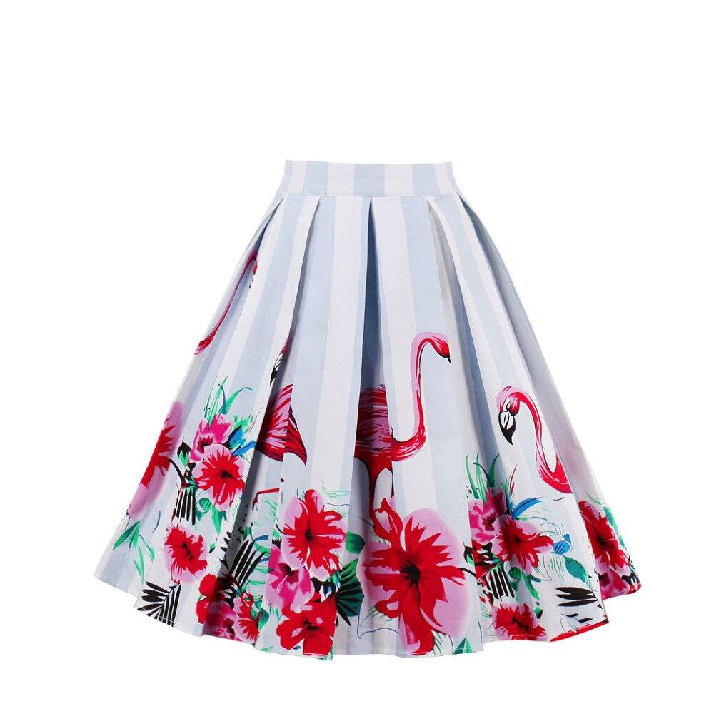 Design Floral Flamingo Print Vintage Women Swing Skirts Summer Cotton High  Waist A line 1950s Pleated Midi Skirt Retro Faldas-in Skirts from Women s  ... 974f49ed2500