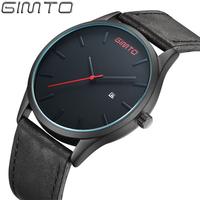 2016 New High Quality Hot Brand GIMTO Watch Men Genuine Leather Quartz Analog Clock Male Sport