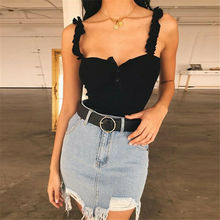 US Women Off Shoulder Sexy Fitness Tank Vest Button Casual Slim Sleeveless Bandge Summer Style Female Tops