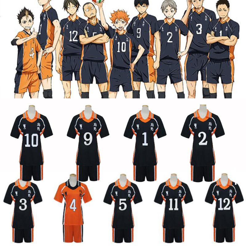 New 9 Styles Anime Haikyuu Cosplay Costumes Karasuno High School Volleyball Club Shirts and Pants Uniform