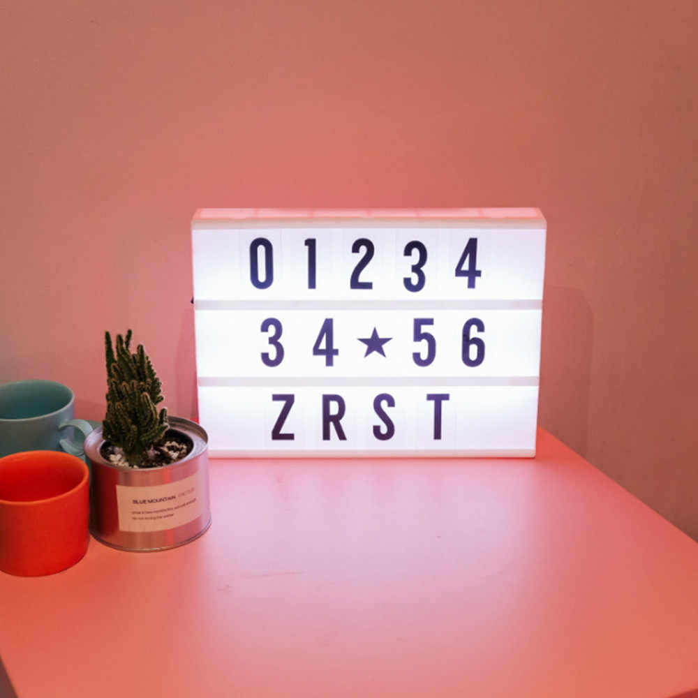 Светодиодная настольная лампа с буквенным принтом, 90 букв, сделай сам, A4, плата для сообщений, Ночной светильник, USB, прикроватная лампа на батарейках для детей