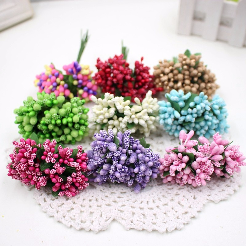 12pcs/lot Stamen Sugar Handmade Artificial Flowers Toys For Children Party Wedding Decoration Creative DIY Toys Wreath Gift Box