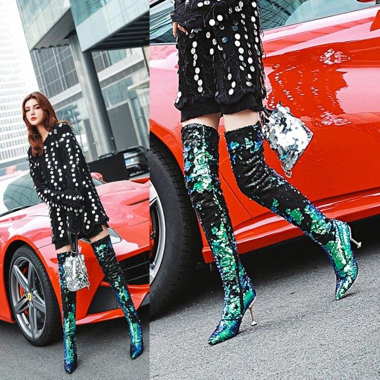 Marque Bling hiver femmes bottes or paillettes tissu talons hauts bottines bout pointu neige décontracté femmes bottes chaudes - 6