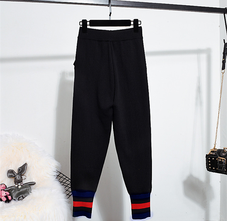 Pantsuits Costume Deux Pièces Ensemble Broderie Loisirs Pullover Noir Décontractés Femmes Mode Manteau Pantalons Chic D816 Automne Vestes xpInf4