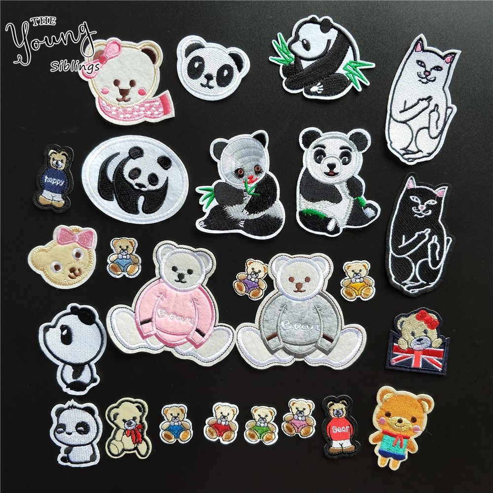 Hot sale Animals Embroidery Applique Iron On Patch For Bear Badge Paste Sewing Panda Stickers DIY Clothing Accessories Supplies