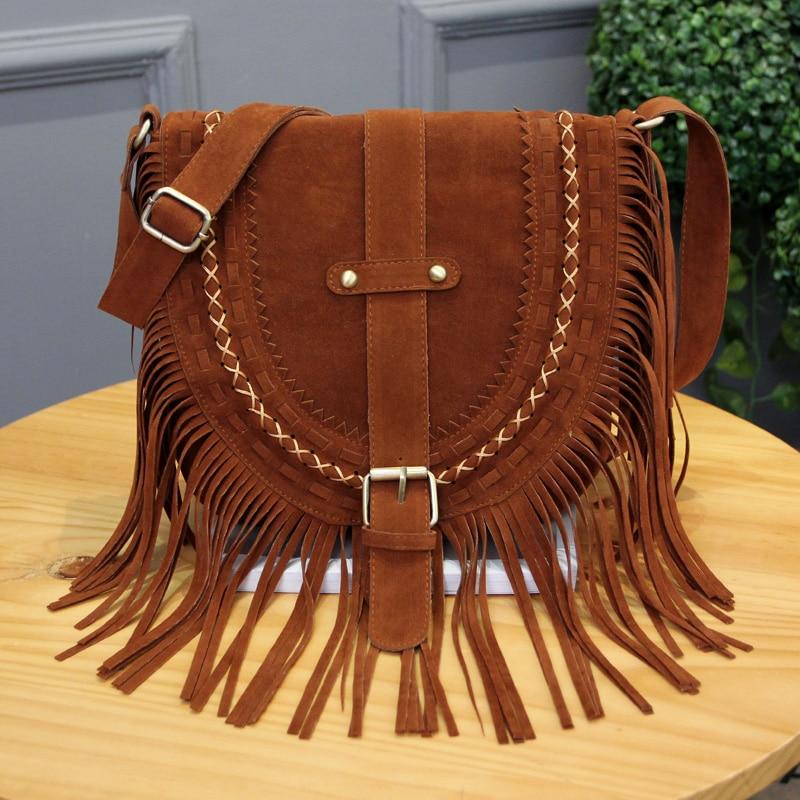 Women s Suede Tassel Bag Fringe Vintage Leather Bags Women Messenger Bags luxury handbags women bags
