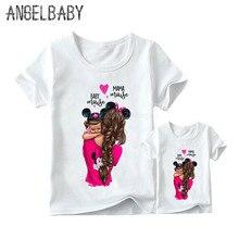 Одинаковые комплекты для семьи с принтом супер мамы и дочки корейская мода Harajuku Kawaii Белая одежда для мамы и дочки футболка для девочек